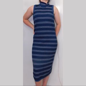 White House Black Market navy stripe midi dress 10
